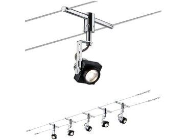 Paulmann LED Deckenleuchte »Wohnzimmerlampe LED 5x5W Phase 230/12V, Schwarz/Chrom«, Seilsystem, 5-flammig