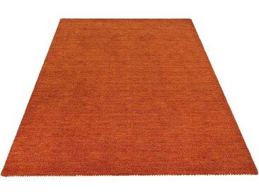 Theko Exklusiv Wollteppich »Gabbeh uni«, rechteckig, Höhe 15 mm, orange, rostorange