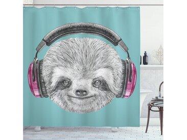 Abakuhaus Duschvorhang »Moderner Digitaldruck mit 12 Haken auf Stoff Wasser Resistent« Breite 175 cm, Höhe 180 cm, Faultier DJ Sloth Kopfhörer