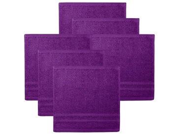 Lashuma Handtuch Set »London« (6-tlg), 6er Set Waschlappen, Uni Gästetücher 30x30 cm, lila, Dunkellila