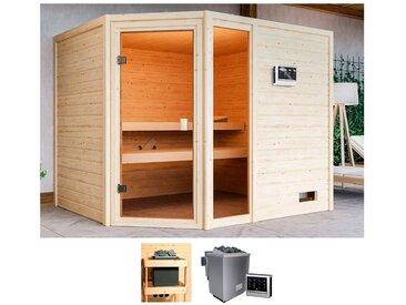 Karibu KARIBU Sauna »Lissy«, 231x196x187 cm, 9 kW Bio-Ofen mit ext. Steuerung, natur, 9 kW Bio-Kombiofen mit externer Steuerung, natur