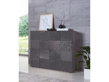 LC Highboard »Miro«, Breite 121 cm mit dekorativem Siebdruck, grau, Anthrazit Hochglanz Lack mit Siebdruck