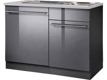 wiho Küchen Spülenschrank »Chicago« 110 cm breit, inkl. Tür/Sockel für Geschirrspüler, schwarz, Anthrazit Glanz