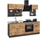 HELD MÖBEL Küchenzeile »Tulsa«, ohne E-Geräte, Breite 210 cm, schwarze Metallgriffe, hochwertige MDF Fronten, beige, wotaneichefarben