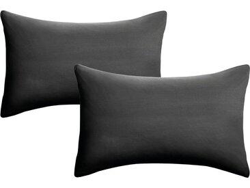 Biberna Kissenbezüge »Oliver«, (2 Stück), Feinjersey aus reiner Baumwolle, schwarz, schwarz