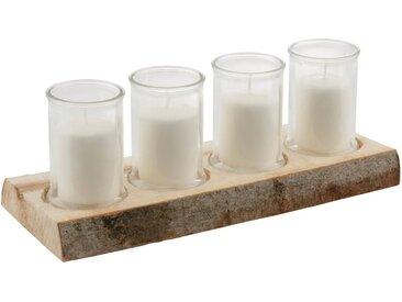 Adventsleuchter »Stamm«, auf Holz und Glas, mit Kerzenfüllung, natur, natur-weiß