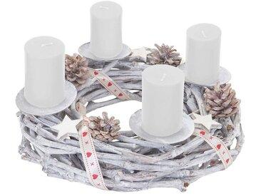 MCW Adventskranz »T783«, Ø 30 cm, Mit 4 Kerzenhaltern, Aufwendig geschmückt, weiß, weiß, weiße Kerzen
