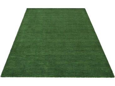 Theko Exklusiv Wollteppich »Gabbeh uni«, rechteckig, Höhe 15 mm, grün, dunkelgrün