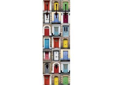 Artland Wandgarderobe »RTimages: Fotocollage von 32 bunten Haustüren«, bunt, 45x140 cm, Farbig