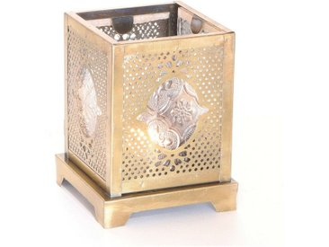 Casa Moro Windlicht »Orientalisches Windlicht Mahir aus Glas & Metall, Marokkanische Glaslaterne für drinnen & draußen, Teelichthalter mit Ornamentglas in Antik-Gold Look« (1 Stück, 1), WDL1000, goldfarben, Glas & Metall