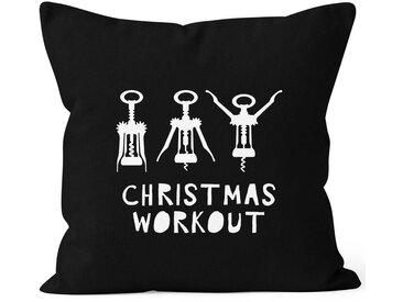 MoonWorks Dekokissen »Kissenbezug Weihnachten Christmas Workout Flaschenöffner Korkenzieher Wein trinken lustig Fun ®«, schwarz, schwarz