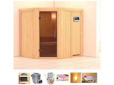 KONIFERA Sauna »Oliv 2«, 196x170x198 cm, 9 kW Bio-Ofen mit ext. Strg, Glastür graphit, natur, 9 kW Bio-Kombiofen mit externer Steuerung, natur