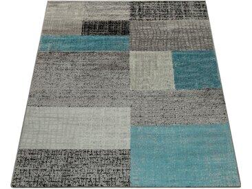 Paco Home Teppich »Sinai 075«, rechteckig, Höhe 16 mm, Kurzflor mit Karo Muster, blau, türkis