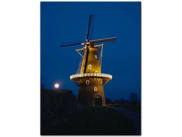 Bilderdepot24 Leinwandbild, Leinwandbild - Windmühle am Abend