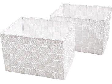 Franz Müller Flechtwaren Aufbewahrungsbox (Set, 2 Stück), Gr. 23 x 18 cm, weiß, weiß