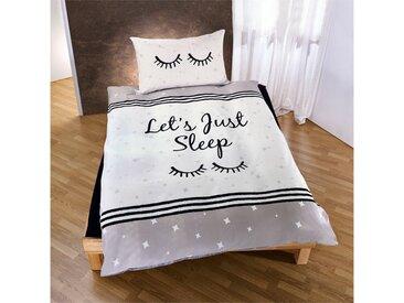 TRAUMSCHLAF Jugendbettwäsche »Let's just sleep«, mit schönem Schriftzug und Sternen, 1 St. x 155 cm x 220 cm
