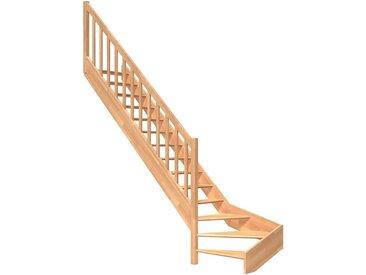 Dolle DOLLE Raumspartreppe »Paris«, offene Stufen, Holzgeländer, versch. Ausführungen, natur, 1/4 links gewendelt, natur