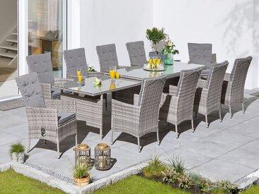 KONIFERA Gartenmöbelset »Belluno«, (21-tlg), 10 Stühle, AZ Tisch 179-300x89 cm, Polyrattan, inkl. Auflagen