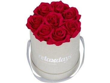 relaxdays Kunstblume »Graue Rosenbox rund 8 Rosen«, Höhe 17 cm, rot, Rot