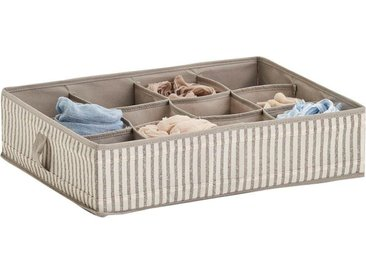 Zeller Present Aufbewahrungsbox »Stripes«, 12 Fächer, faltbar, Vlies, beige