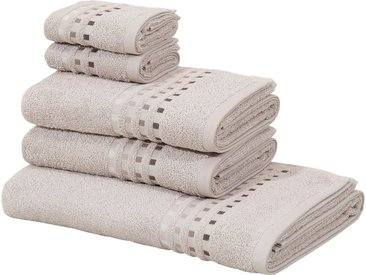 Home affaire Handtuch Set »Kelly« (Set, 5-tlg), mit Farbverlauf in Bordüre, natur, taupe