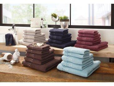 Home affaire Handtuch Set »Kelly« (Set, 5-tlg), mit Farbverlauf in Bordüre, natur, taupe