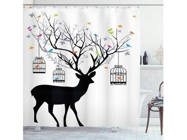 Abakuhaus Duschvorhang »Moderner Digitaldruck mit 12 Haken auf Stoff Wasser Resistent« Breite 175 cm, Höhe 180 cm, Geweih Deer Bunte Vögel