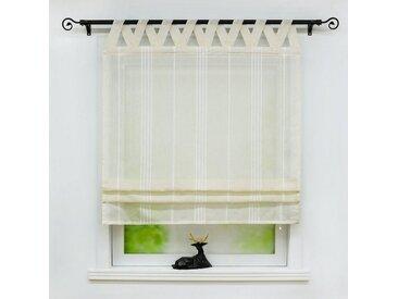 Delien Raffrollo »Thea«, mit Schlaufen, halbtransparentes Unifarbiges Bändchenrollo mit Längsstreifen Schals mit V Schlaufen Fenster Vorhänge, beige