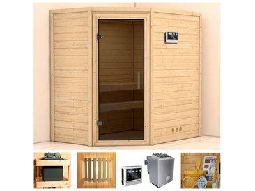 KONIFERA Sauna »Walram«, 196x144x198 cm, 9 kW Bio-Ofen mit ext. Strg, Glastür graphit, natur, 9 kW Bio-Kombiofen mit externer Steuerung, natur