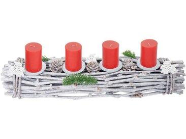 MCW Adventskranz »T783-L«, Mit 4 Kerzenhaltern, Aufwendig geschmückt, weiß, weiß, rote Kerzen
