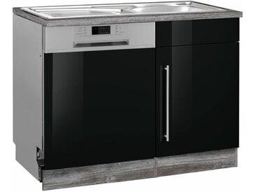 HELD MÖBEL Spülenschrank »Samos« 110 cm breit, inkl. Tür/Sockel für Geschirrspüler, schwarz, Folienbeschichtung-melaminbeschichtet, schwarz Hochglanz