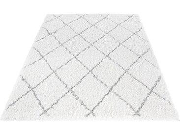 LUXOR living Hochflor-Teppich »Pula 79803«, rechteckig, Höhe 35 mm, Rauten Design, weiß, weiß