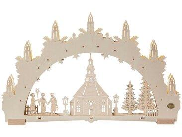 SAICO Original 3D-Lichterbogen Seiffener Kirche, 7flammige LED-Beleuchtung, natur, Natur