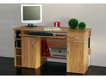 Schreibtisch »Tim«, mit 5 Fächern und Tastaturauszug, natur, kernbuchefarben