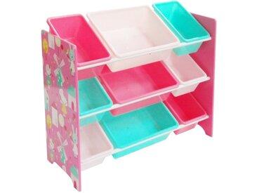 """style home Aufbewahrungsbox, Kinderregal mit 9 Kunststoffboxen Aufbewahrungsbox Spielzeugregal Kinderzimmer Bücherregal """"Hase und Windmühle"""""""