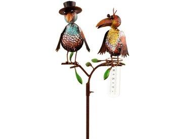 BigDean Regenmesser »Gartenstecker mit Glas Rabenpaar aus Metall 138 cm hochVögel bunt lackiert«
