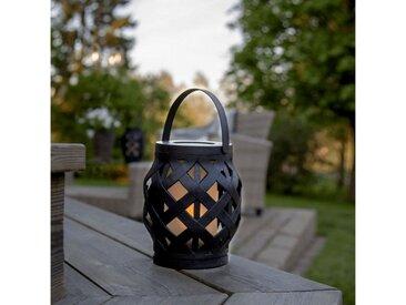 STAR TRADING LED Laterne »LED Laterne Flamme LED mit bewegtem Feuereffekt H: 16cm D: 14cm Timer schwarz«