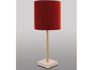 Licht-Erlebnisse Tischleuchte »MARMO Rote Tischlampe echtes Messing Premium E27 bis 60W Klassisches Nachtlicht«