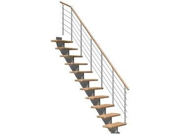 Dolle DOLLE Mittelholmtreppe »Frankfurt Eiche 65«, bis 279 cm, Edelstahlgeländer, versch. Ausführungen, natur, gerade, natur