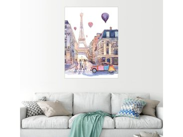 Posterlounge Wandbild, Eiffelturm und Citroën 2CV in Paris, Premium-Poster