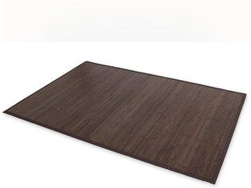 Homestyle4u Teppich, rechteckig, Höhe 17 mm, Bambusteppich, Bambusmatte, verschiedene Farben, schwarz, Dunkelbraun