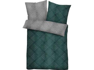 Biberna Wendebettwäsche »Celine«, im elegantem Rauten-Linien-Mix, grün, 1 St. x 135 cm x 200 cm, 2 tlg., sturmgrau