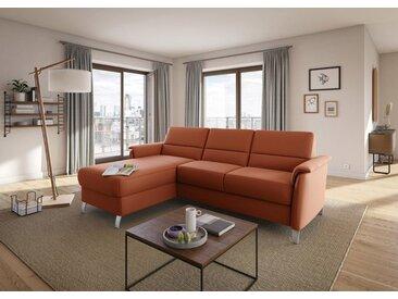 sit&more Ecksofa, orange, mit Bettfunktion-mit Bettkasten, terra