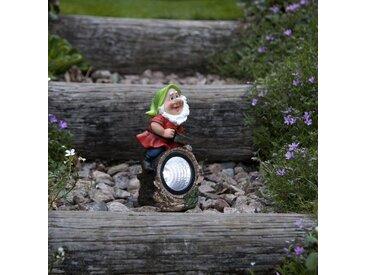 STAR TRADING LED Dekoobjekt »LED Solar Gartenzwerg mit Säge Gartenfigur Spot mit weißer LED H: 21cm«