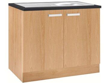 OPTIFIT Spülenschrank »Odense« 100 cm breit, mit 2 Türen, inkl. Einbauspüle aus Edelstahl, natur, buche/buche