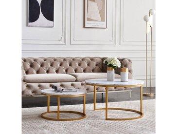 Flieks Couchtisch, 2er Set Couchtisch Kaffee Tisch, freie Kombination, golden - weiß