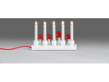 KONSTSMIDE LED Adventsleuchter, Holzleuchter mit Fliegenpilze