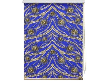 POMPÖÖS by Lichtblick Seitenzugrollo »Verdunkelungsrollo Klemmfix«, verdunkelnd, ohne Bohren, freihängend, bedruckt, blau, blau-goldfarben