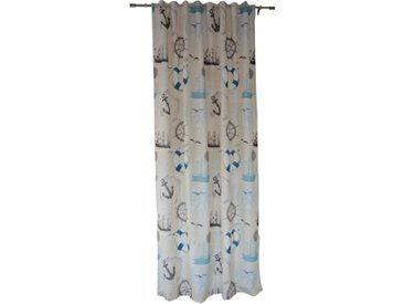 Clever-Kauf-24 Vorhang »Dekoschal Maritim beige BxH 135x245 cm mit verdeckter Schlaufe«, verdeckteSchlaufen, blickdichter Vorhang