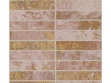 living walls Schaumtapete »Il Decoro«, Fliesen-Optik, natur, metallic-braun